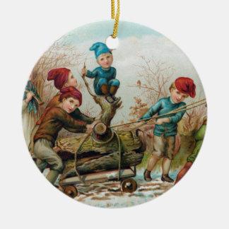 Vintager viktorianischer Weihnachten-Klotz Keramik Ornament