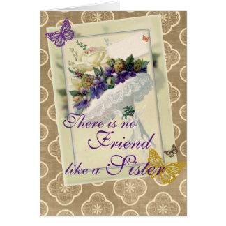 Vintager violetter Blumenstrauß-Schwester-und Karte