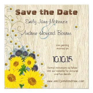 Vintager Vogel auf WoodGrain Save the Date Wedding Karte