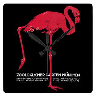 Vintager Vogel-Rosa-Flamingo an Zoo Deutschlands Quadratische Wanduhr
