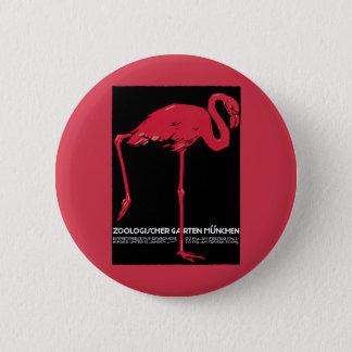 Vintager Vogel-Rosa-Flamingo an Zoo Deutschlands Runder Button 5,7 Cm