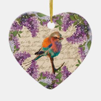 Vintager Vogel und Flieder Keramik Ornament