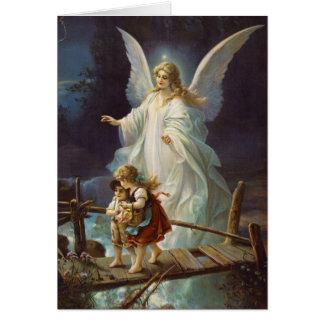 Vintager Wächter-Engel und Kinder Grußkarte