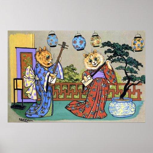 Vintager Wain japanischer musikalischer Katzen-Pla Poster