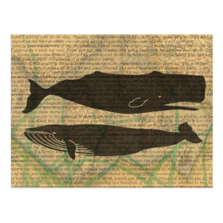 Vintager Wal rustikales nautischbeachy Postkarte