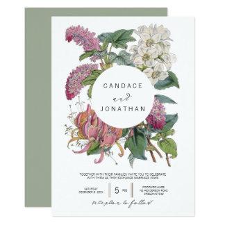 Vintager Watercolor-Blumenkunst-Hochzeit Karte