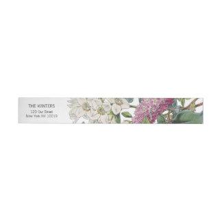 Vintager Watercolor-Blumenkunst-Hochzeit Rundum-Adressaufkleber
