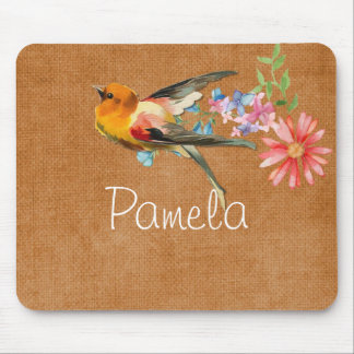 Vintager Watercolor-Blumenvogel personalisiert Mousepad