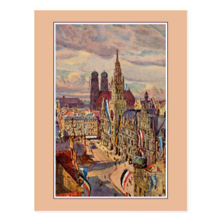 Vintager Watercolor München Marienplatz Postkarte