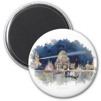 Vintager Watercolor nachts im großartigen Gericht Runder Magnet 5,1 Cm