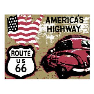 Vintager Weg US 66 Postkarte