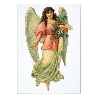 Vintager Weihnachtsantiken-Engel in der rosa Karte