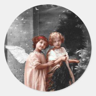 Vintager Weihnachtsaufkleber, 1900s Engels-Kinder Runder Aufkleber