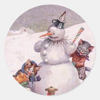 Vintager Weihnachtsaufkleber, Katzen Arthurs Runder Aufkleber