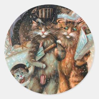 Vintager Weihnachtsaufkleber, Katzen Louis Wain Runder Aufkleber