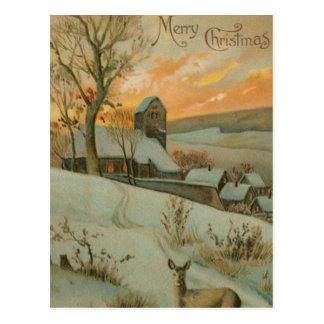 Vintager Weihnachtsbauernhof mit Rotwild Postkarte