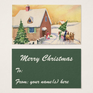 Vintager Weihnachtsbaum auf einer Visitenkarte