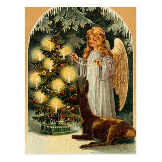Vintager Weihnachtsbaum und Engel Postkarte