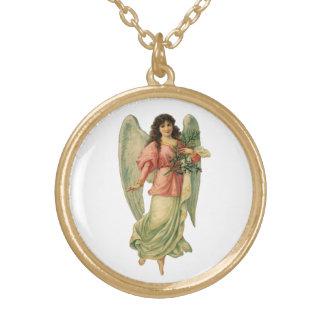 Vintager Weihnachtsengel, himmlisches Halskette Mit Rundem Anhänger