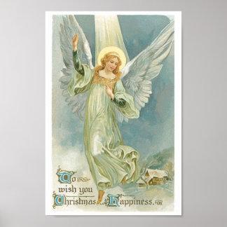 Vintager Weihnachtsengel Poster