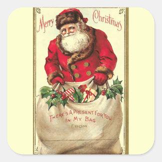 Vintager Weihnachtsfeiertag Quadrat-Aufkleber