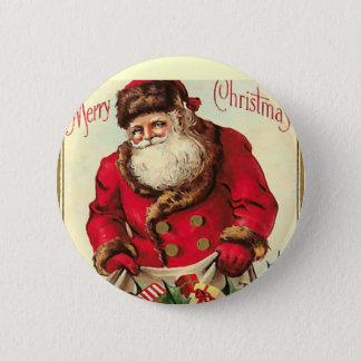 Vintager Weihnachtsfeiertag Runder Button 5,7 Cm