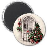 Vintager Weihnachtsfenster-Magnet Kühlschrankmagnet