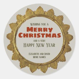 Vintager Weihnachtsgoldstern mit Feiertagstext Runder Aufkleber