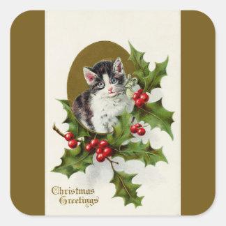 Vintager Weihnachtskätzchen-Goldquadrat-Aufkleber Quadratischer Aufkleber