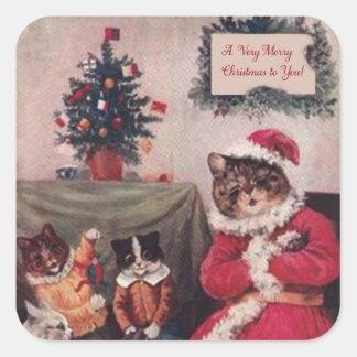 Vintager Weihnachtskatzen-Aufkleber, Katzen Louis Quadratischer Aufkleber