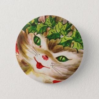 Vintager Weihnachtskitty Runder Button 5,1 Cm