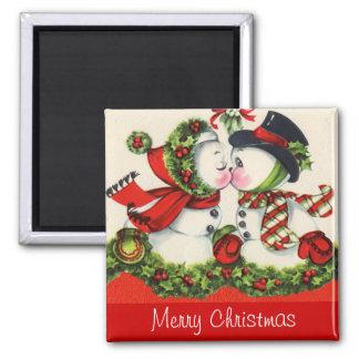 Vintager Weihnachtskuß Quadratischer Magnet