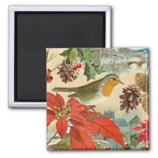 Vintager Weihnachtsmagnet mit Vogel und Blumen Quadratischer Magnet