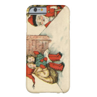 Vintager Weihnachtsmann grüßt Kinder durch Kamin Barely There iPhone 6 Hülle
