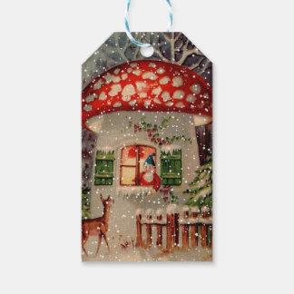 Vintager Weihnachtsmann in einem Pilz-Haus Geschenkanhänger