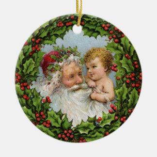 Vintager Weihnachtsmann mit Baby Keramik Ornament