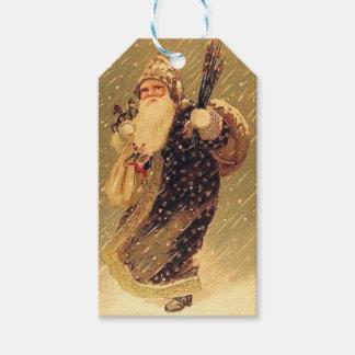 Vintager Weihnachtsmann mit Geschenken Geschenkanhänger