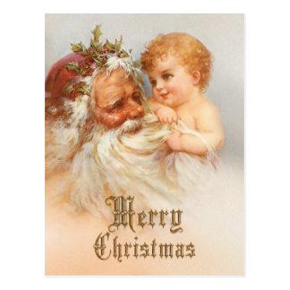 Vintager Weihnachtsmann mit lächelndem Kind Postkarten