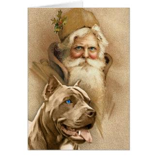 Vintager Weihnachtsmann- u. Haustier-Gruben-Stier- Grußkarte