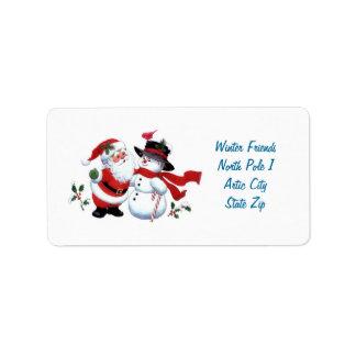 Vintager Weihnachtsmann- und Snowman-Aufkleber Adressaufkleber