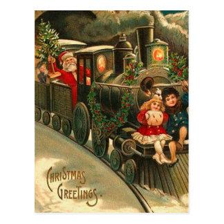 Vintager Weihnachtsmann-Weihnachtszug Postkarte