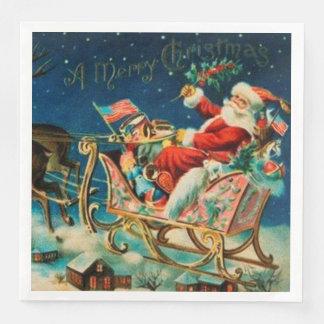 Vintager Weihnachtsmannsleigh-Weihnachtsfeiertag Papierservietten