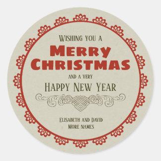 Vintager Weihnachtsrahmen kalligraphischer Dekor Runder Aufkleber