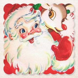 Vintager Weihnachtssankt-Ren-Party-Untersetzer Untersetzer