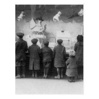 Vintager Weihnachtsspielzeug-Speicher Postkarte