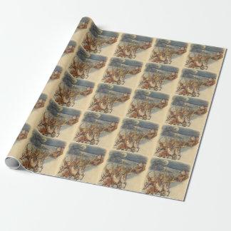 Vintager WeihnachtsweihnachtsmannSleigh mit Ren Einpackpapier