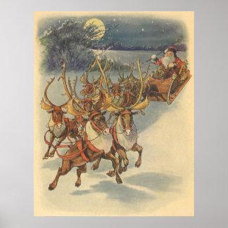 Vintager WeihnachtsweihnachtsmannSleigh mit Ren Poster