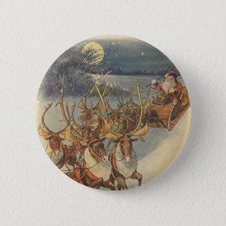 Vintager WeihnachtsweihnachtsmannSleigh mit Ren Runder Button 5,1 Cm