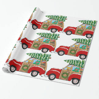 Vintager Weihnachtswoody-Lastwagen, der Geschenkpapier