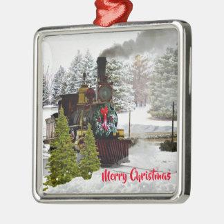 Vintager Weihnachtszug mit Schnee und Gruß Silbernes Ornament
